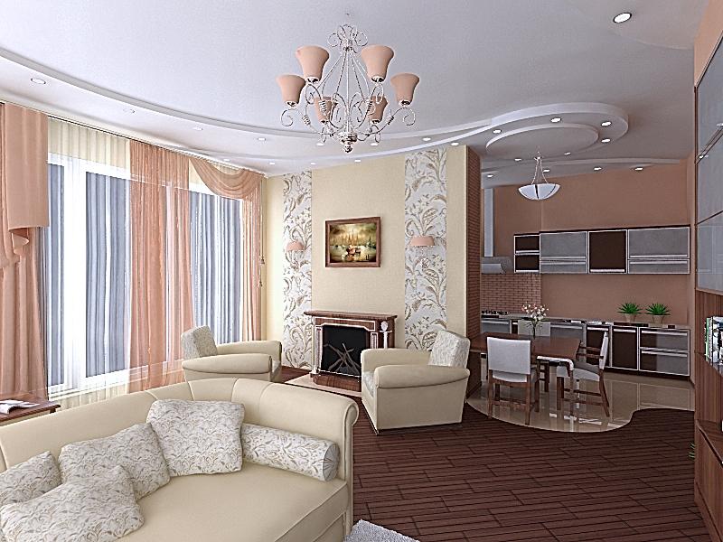 Дизайн гостиной объединенной с кухней фото