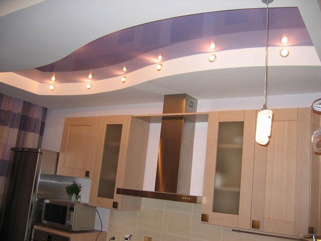 Дизайн потолков из гипсокартона в кухни