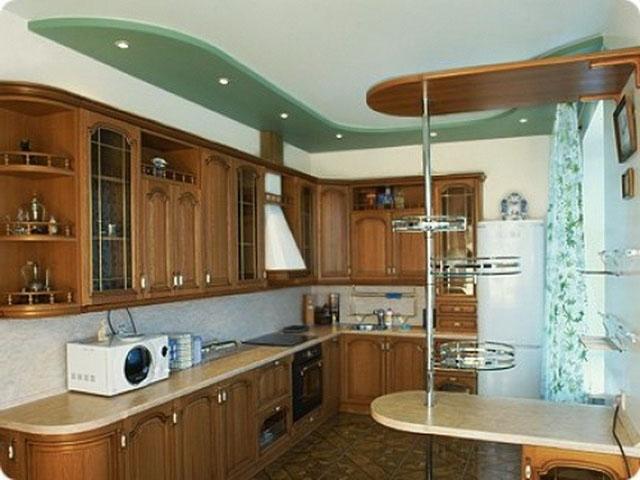 Фото потолков из гипсокартона на кухне своими руками