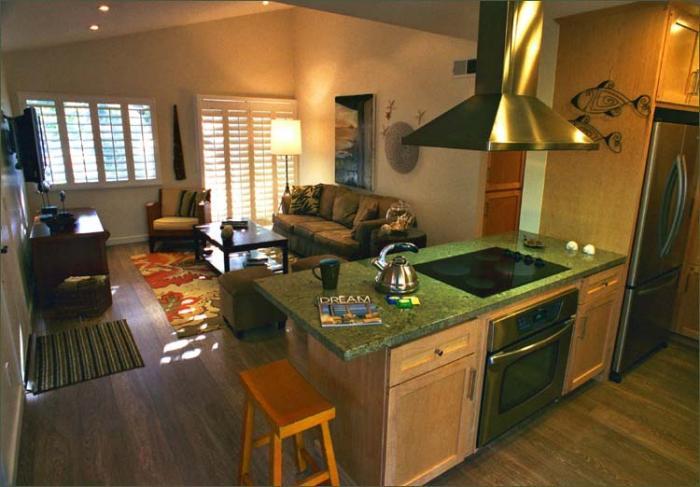 Kitchen living room dining room open floor plan