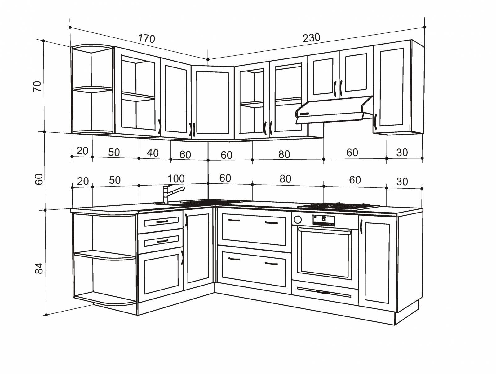 Чертеж кухни с размерами