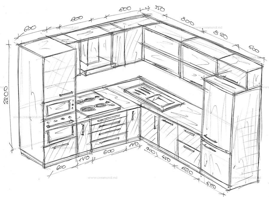 чертежи угловой кухни с