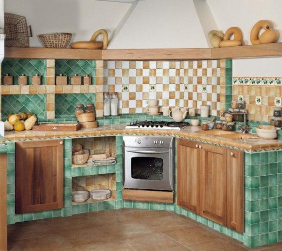Дизайн кухни в кафеле фото